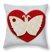 Red Heart With Butterfly Throw Pillow