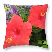 Red Hibiscus And Purple Blossoms Throw Pillow