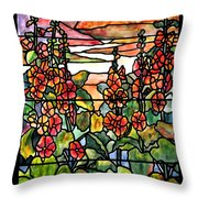 Stained Glass Tiffany Red Hollyhocks In Landscape In Watercolor Throw Pillow