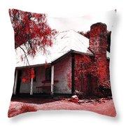 Red Homestead Garden Throw Pillow