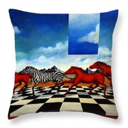 Red Horses With Zebra Throw Pillow