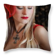 Red Hot Throw Pillow by Evelina Kremsdorf