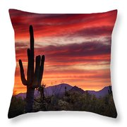 Red Hot Sonoran Sunset Throw Pillow