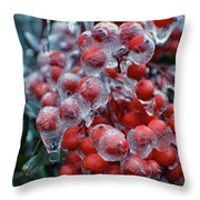 Red Ice Berries Throw Pillow