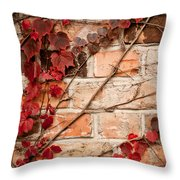 Red Ivy Leaves Creeper Throw Pillow