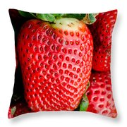 Red Juicy Delicious California Strawberry Throw Pillow
