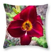 Red Lady Lily 2 Throw Pillow