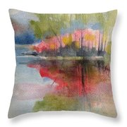 Red Lake Reflection #2 Throw Pillow
