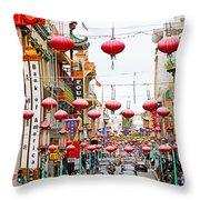 Red Lanterns Of Chinatown Throw Pillow