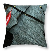 Red Leaf On Cut Wood Throw Pillow