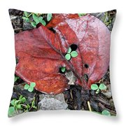 Red Leaf On Green Throw Pillow