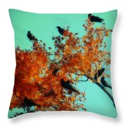 Red Leaves Among The Ravens Throw Pillow