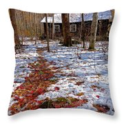 Red Leaves On Snow - Cabin In The Woods Throw Pillow