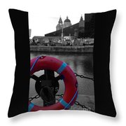 Red Lifebelt At Albert Dock 2 Throw Pillow