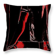 Red Light Black Dress Throw Pillow