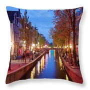 Red Light District In Amsterdam Throw Pillow