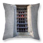 Red Light Jail Window Throw Pillow