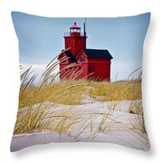 Red Lighthouse By Holland Michigan Known As Big Red Throw Pillow