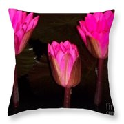 Red Lilies At Night Throw Pillow