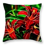 Red Lilies Expressive Brushstrokes Throw Pillow