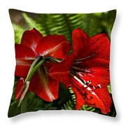 Red Lilies For Spring Throw Pillow