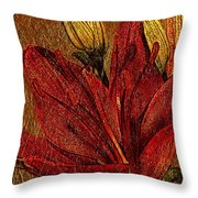 Red Lily Gold Leaf Throw Pillow