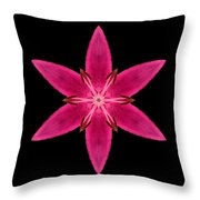 Red Lily I Flower Mandala Throw Pillow