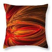 Red Luminescence-fractal Art Throw Pillow