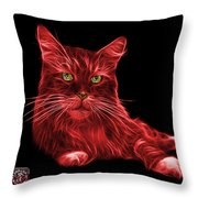 Red Maine Coon Cat - 3926 - Bb Throw Pillow