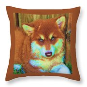 Red Malamute Throw Pillow