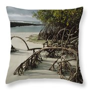 Red Mangrove Root Galapagos Islands Throw Pillow