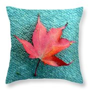 Red Maple Blue Throw Pillow