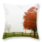 Red Maple Tree And A Split-rail Fence Throw Pillow