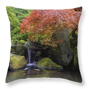 Red Maple Tree Over Waterfall Pond Throw Pillow