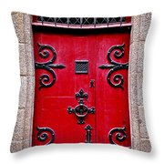 Red Medieval Door Throw Pillow by Elena Elisseeva