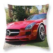 Red Mercedes Benz Throw Pillow