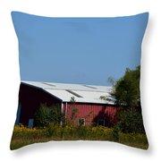 Red Metal Barn Throw Pillow