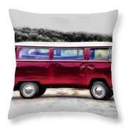 Red Microbus Throw Pillow
