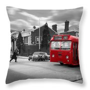 Red Midland Bus And Sheep - 1960's    Ref-126 Throw Pillow
