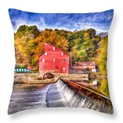 Red Mill Painted Throw Pillow