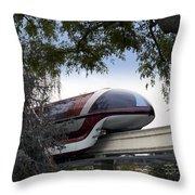 Red Monorail Disneyland 01 Throw Pillow