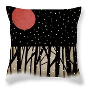 Red Moon And Snow Throw Pillow by Carol Leigh