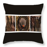 Red Moon Rising - Abstract - Triptych Throw Pillow