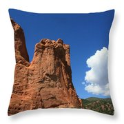 Red Mountain Garden Of The Gods  Colorado Throw Pillow by Robert D  Brozek