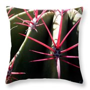 Red Needles On Barrel Cactus Throw Pillow
