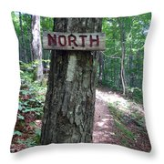 Red North Sign Throw Pillow