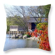 Red October On The Lake Throw Pillow