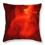 Red On Red Horse Throw Pillow