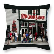 Red Onion Saloon Throw Pillow