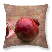 Red Onions On Barnboard Throw Pillow